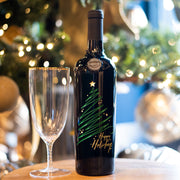 Happy Holidays Sparkle Tree Etched Wine Bottle
