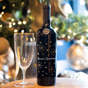 Season's Greetings Geometric Snowflake Etched Wine Bottle