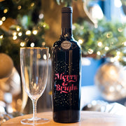 Merry and Bright Etched Wine Bottle