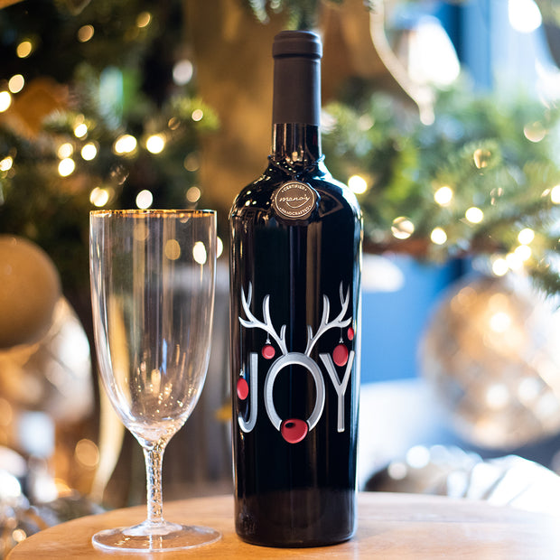 Joy Ornaments Holiday Etched Wine Bottle