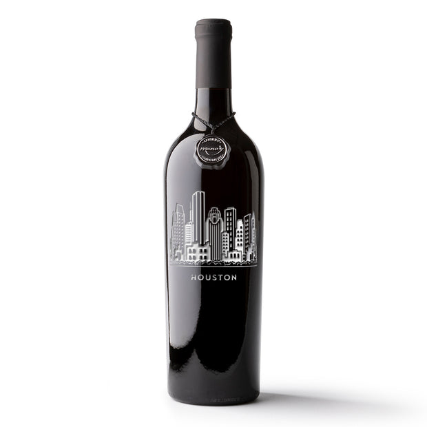 Houston Skyline Etched Wine Bottle