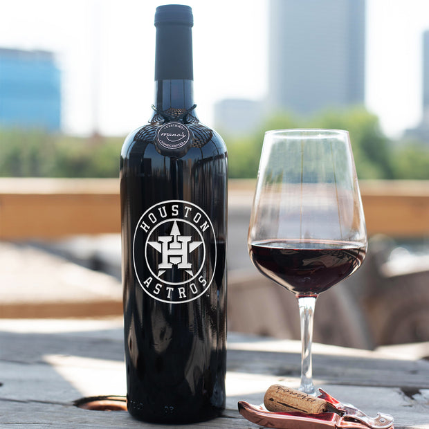 Houston Astros™ Etched Wine Bottle