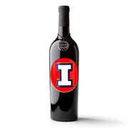 University of Illinois Logo Etched Wine Bottle