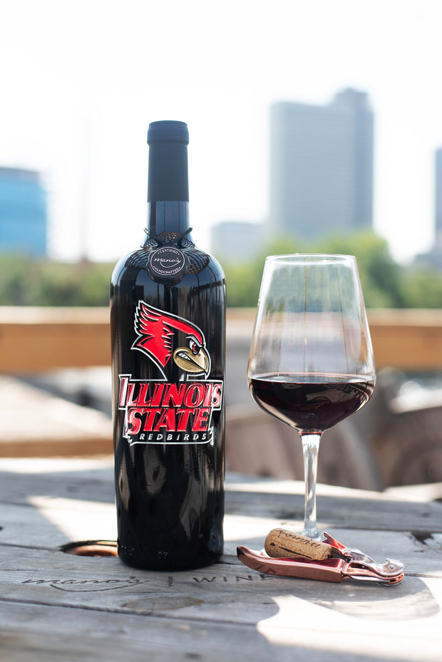 Illinois State University Etched Wine Bottle
