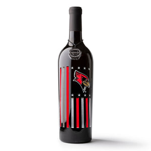 Illinois State Flag Etched Wine Bottle