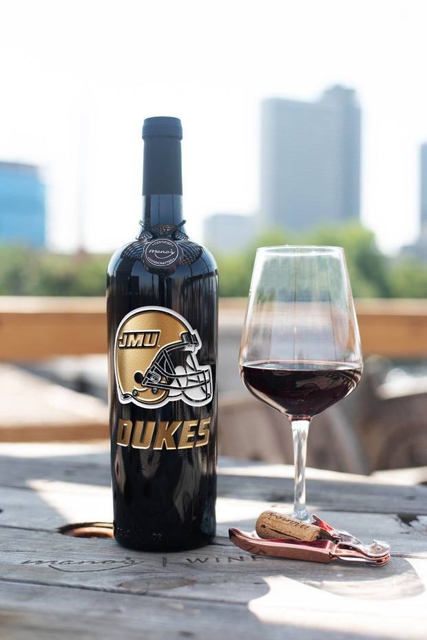 James Madison Football Etched Wine