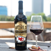 Kansas City Chiefs World Champions Etched Wine