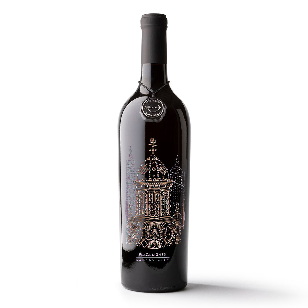 Kansas City Plaza Lights Etched Wine Bottle