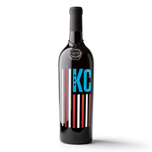KC Flag Etched Wine Bottle