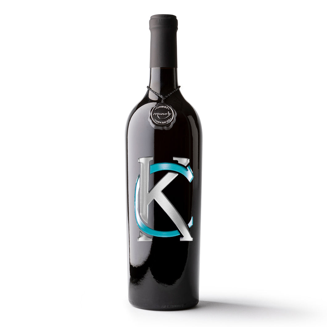 Kansas City Logo Etched Wine Bottle
