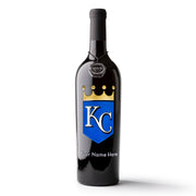 Kansas City Royals™ Logo Custom Name Etched Wine Bottle