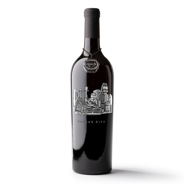 Kansas City Skyline Etched Wine Bottle
