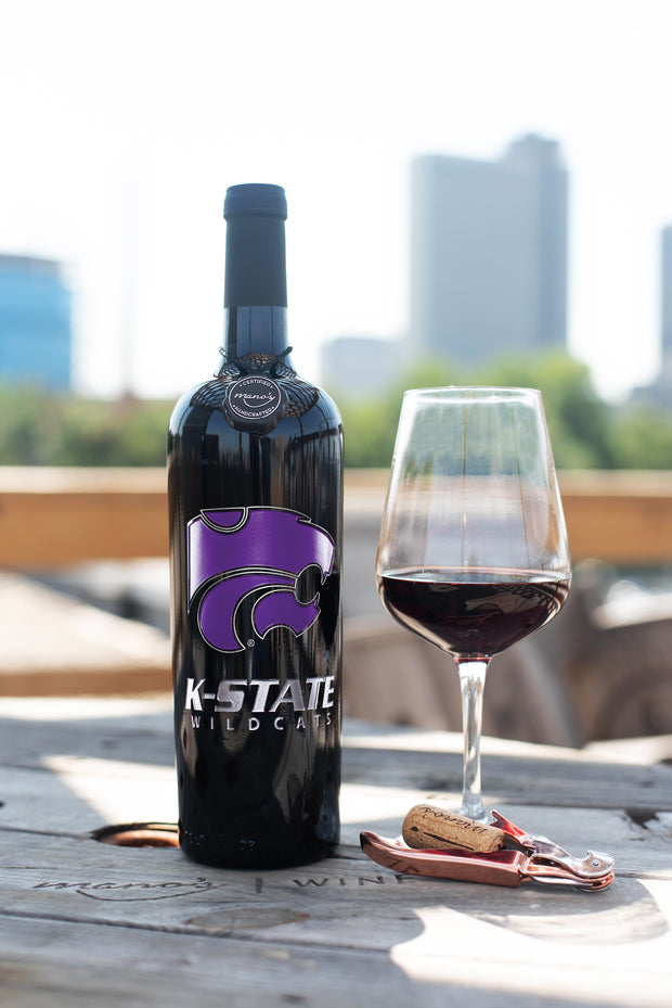 Kansas State University Powercat Etched Wine Bottle
