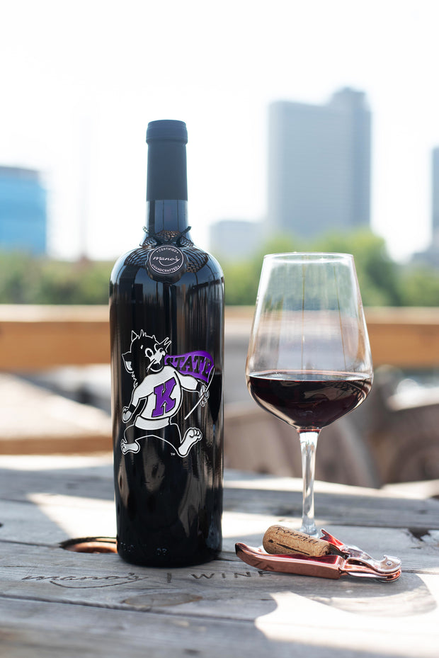 Kansas State University Willie the Wildcat Etched Wine Bottle
