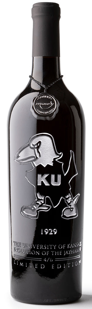 University of Kansas Evolution 1929 Etched Wine