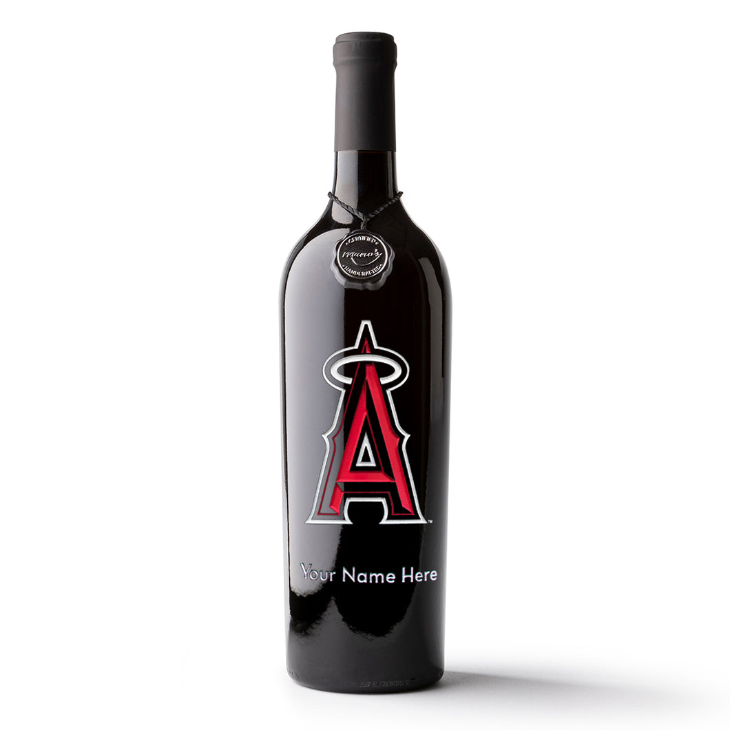 Los Angeles Angels™ Custom Name Etched Wine Bottle