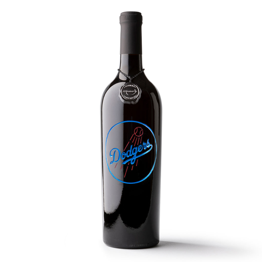 Los Angeles Dodgers™ Circle Logo Etched Wine Bottle