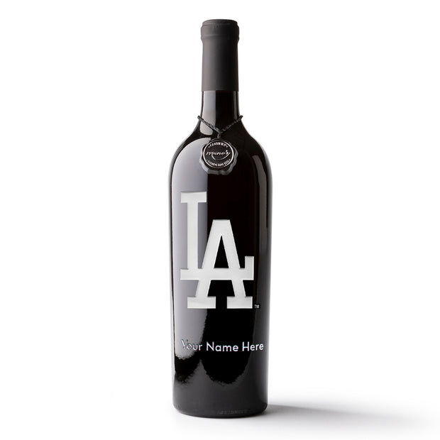 Los Angeles Dodgers™ Logo Custom Name Etched Wine Bottle