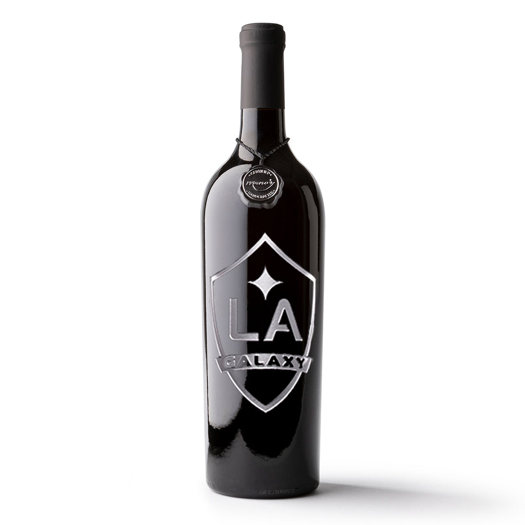 LA Galaxy Shield Logo Etched Wine