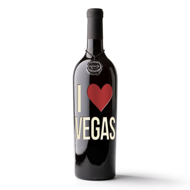 I Heart Las Vegas Etched Wine Bottle