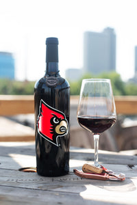 University of Louisville Cardinals Logo Etched Wine Bottle