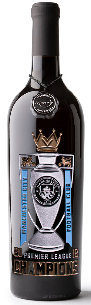 Manchester City 2018 Premier League Champions Etched Wine