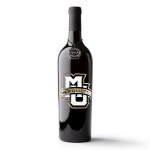 Marquette University Logo Etched Wine Bottle