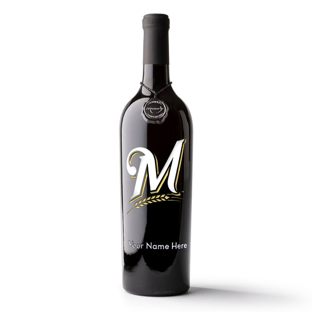 Milwaukee Brewers™ Logo Custom Name Etched Wine Bottle
