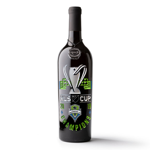 Seattle Sounders 2019 MLS Cup Champions Etched Wine