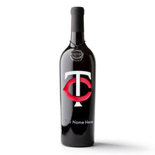 Load image into Gallery viewer, Minnesota Twins™ Logo Custom Name Etched Wine Bottle