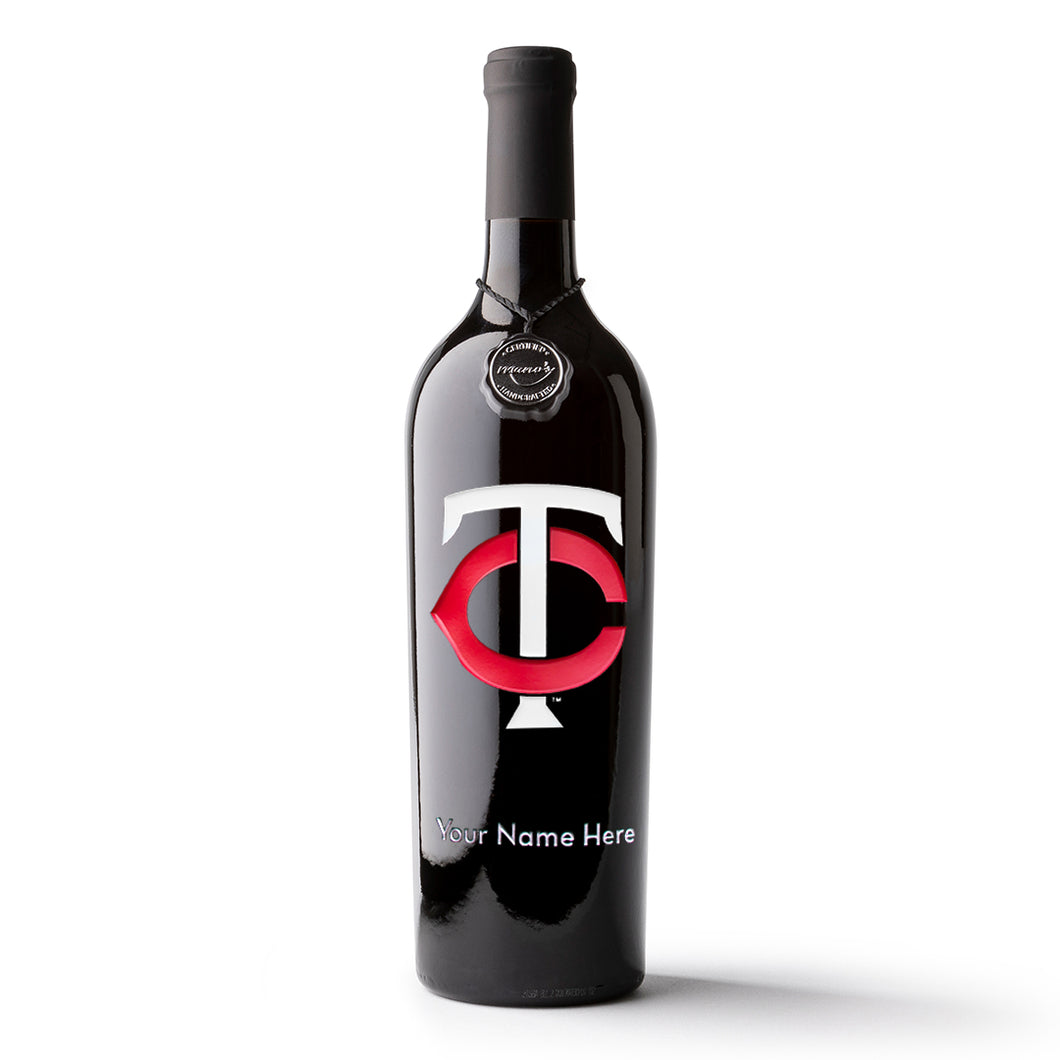 Minnesota Twins™ Logo Custom Name Etched Wine Bottle