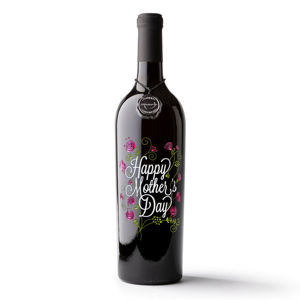 Mother's Day Flowers Etched Wine Bottle