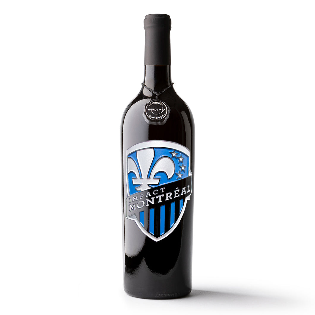 Montreal Impact Shield Logo Etched Wine