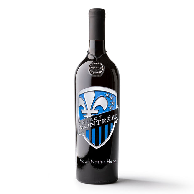 Montreal Impact Shield Logo Custom Name Etched Wine