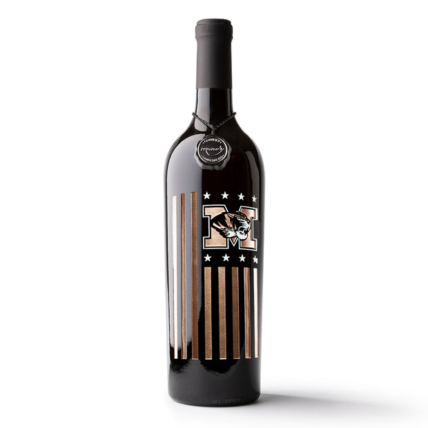 University of Missouri Flag Etched Wine Bottle