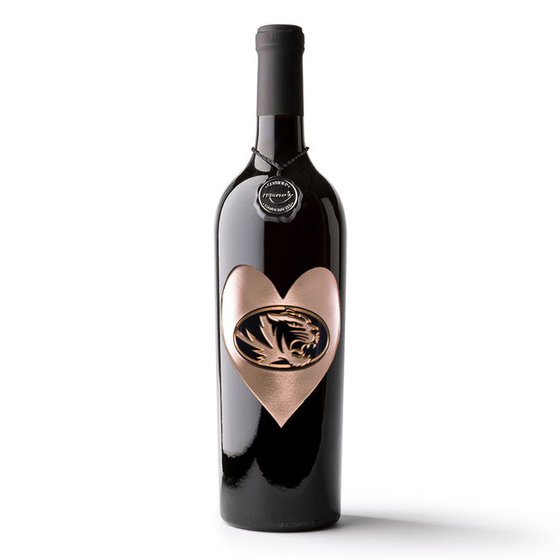 University of Missouri Heart Etched Wine Bottle