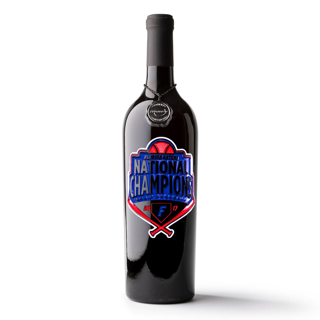 Florida Gators National Champions Logo Etched Wine