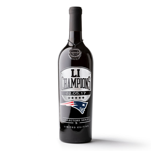 Patriots LI Champions Etched Wine