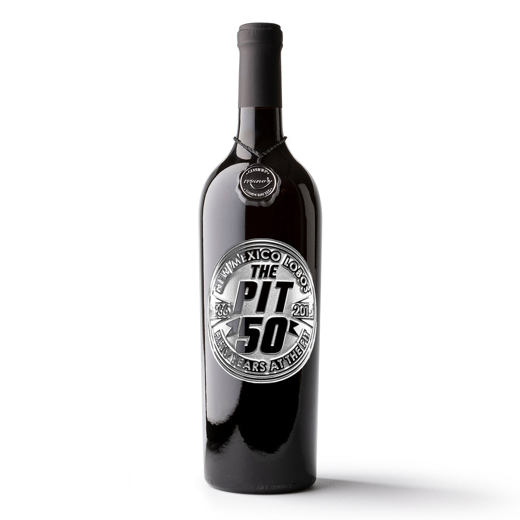University of New Mexico The Pit 50 Years Etched Wine Bottle