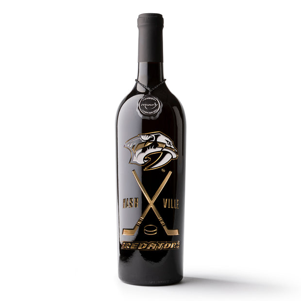 Nashville Predators Crossed Sticks Etched Wine