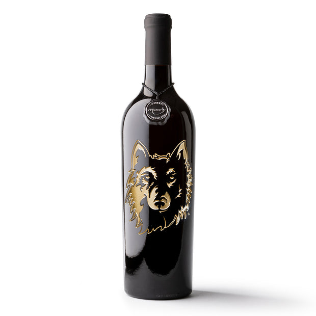 Northern State University Wolves Etched Wine