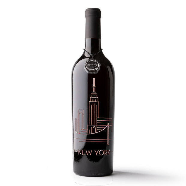 New York Sky Etched Wine Bottle