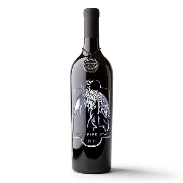Empire State Etched Wine Bottle