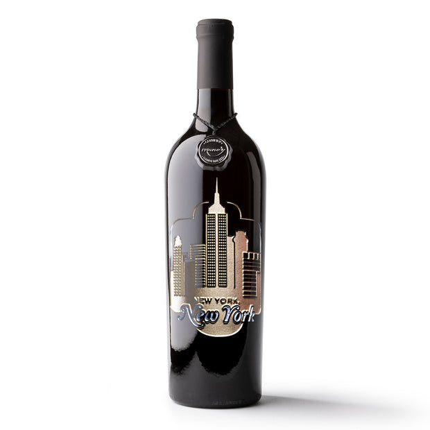 New York, New York Etched Wine Bottle