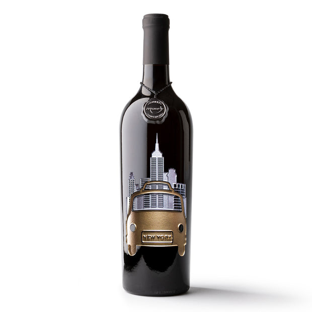 New York Taxi Etched Wine Bottle