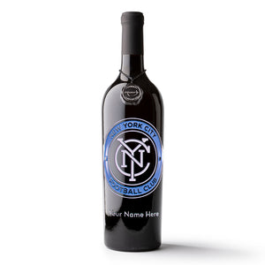 NYC FC Logo Custom Name Etched Wine
