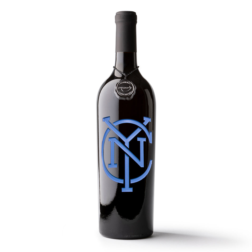 NYC FC Alternate Logo Etched Wine