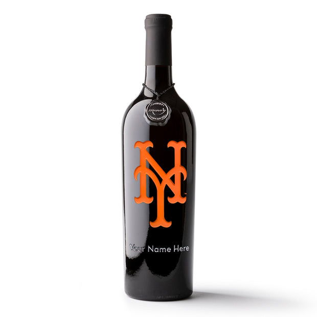 New York Mets™ Logo Custom Name Etched Wine Bottle