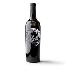 Load image into Gallery viewer, New York Mets™ Circle Skyline Etched Wine Bottle