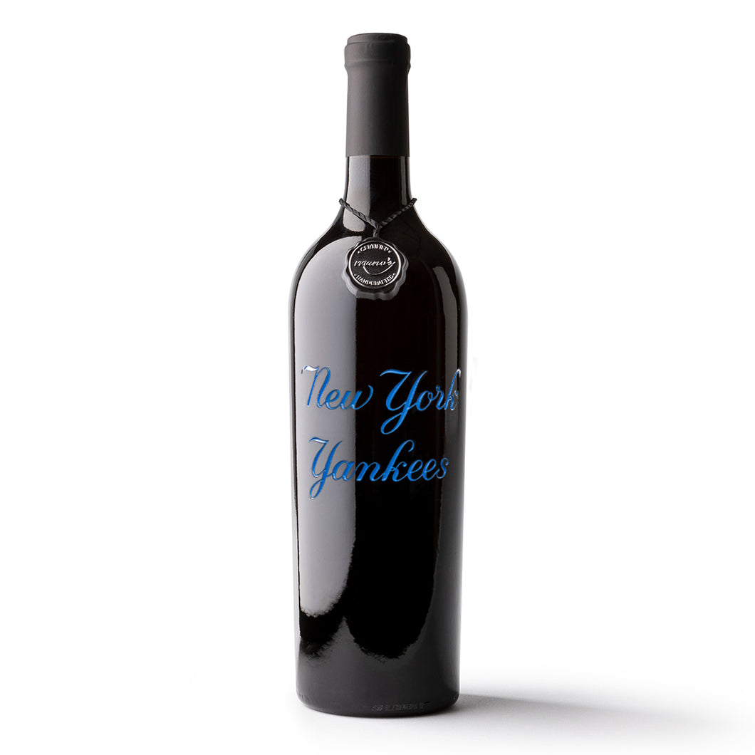 New York Yankees™ Blue Script Etched Wine Bottle